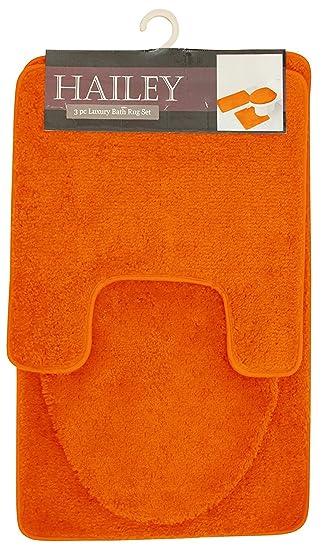 Hailey 3 Piece Bath Rug Set, Orange