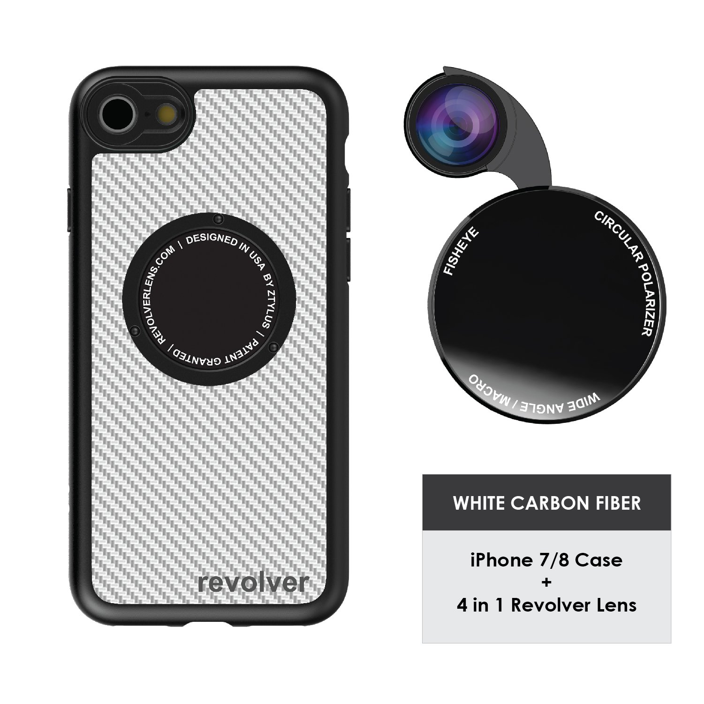 Ztylus Designer Revolver M Series Camera Kit: 4 in 1 Lens with Case for iPhone 7/8 - Fisheye Lens, Wide Angle Lens, Macro Lens, CPL (White Carbon Fiber)