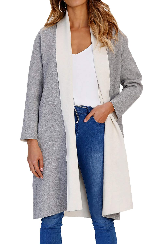 PRETTYGARDEN Women's Long Sleeve Shawl Collar Draped Open Front Long Cardigan Thick Coat Outwear (Grey, Medium)