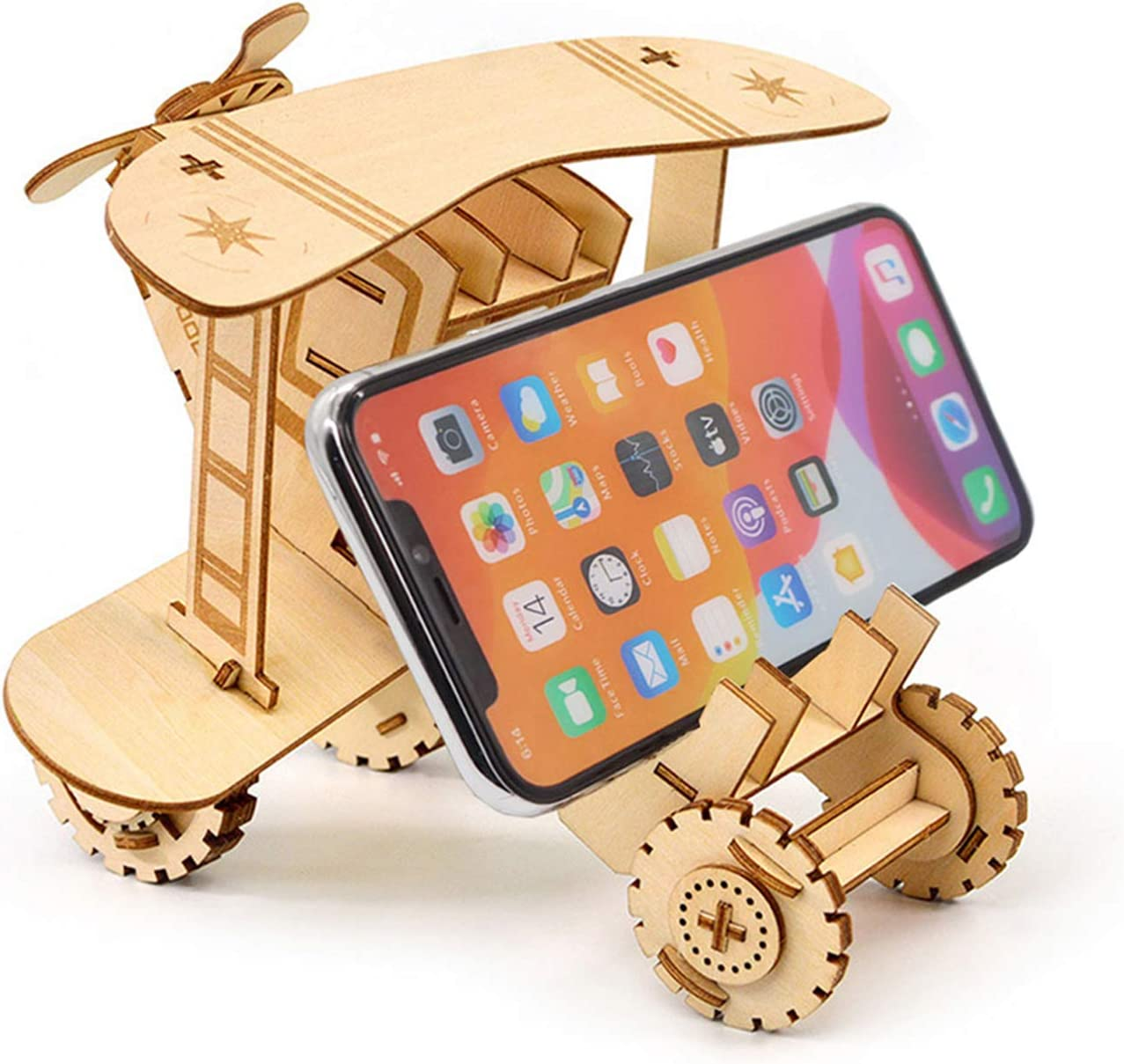 SEEHAN 3D Wooden Puzzle for Adults Airplane Model Puzzle Wood Crafts Assemble Jigsaw Puzzle Toys Model Kits Gifts for Kids Cell Phone Stand Phone Holder for Office Desk