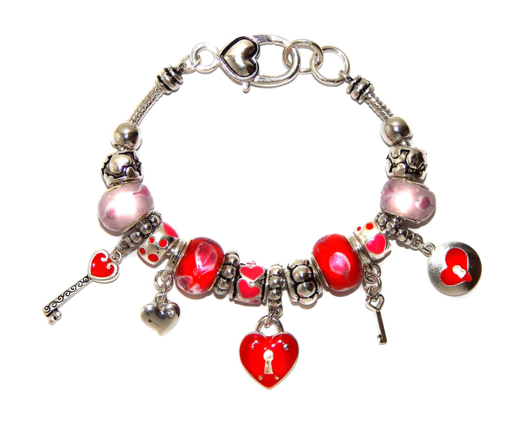 Landau Ambrosia Red Hearts Theme Charm Bracelet