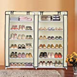 Blissun 7 Tiers Shoe Rack Shoe Storage Organizer Cabinet Tower with Nonwoven Fabric Cover, Beige, BLIS-A08
