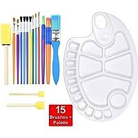 15PCS Colorful Kids Paint Brush & palette Set, Childrens Paint Brushes Starter kit for Watercolor, Oil, Acrylic, Paints…