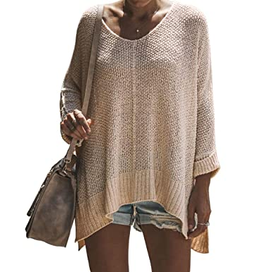 59794b4edeb Exlura Women s Off Shoulder Casual V Neck Sheer Loose Oversized Pullover  Sweater High Low Knitted Jumper