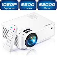 """Mini Projector [2020 Updated], Projector 1080P Supported, 4500 Lux 210"""" Display with 52,000 Hrs LED Movie Projector Compatible with Phone,Computer,Laptop,USB,HDMI,VGA,SD PONER SAUND"""
