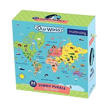 Amazoncom Mudpuppy Jumbo Our World Puzzle ndash 25 Large