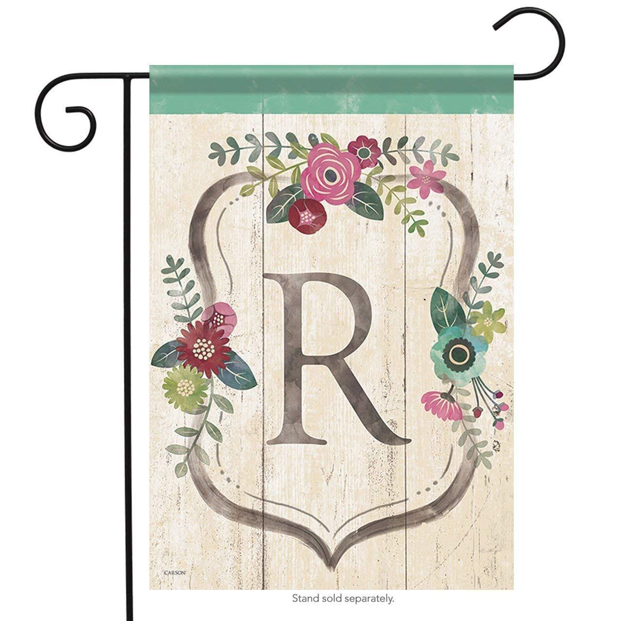 Aric Garden Flag - Classic Floral Monogram R