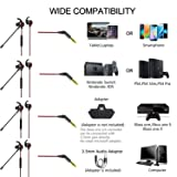 Wired Gaming Earphone PS4 PC On-Live Game Chat Bass Stereo Headset 3.5mm Audio Jack in-Ear Noise Cancelling Headphone with Microphone for Xbox One/X PS4 /Pro/Slim PC Notebook Mac Laptop Phones
