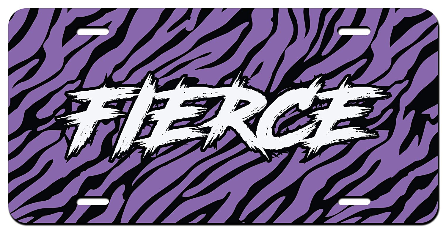 Fierce Purple Tiger Stripes Printed Vanity Front License Plate Tag KCFP091 KCD