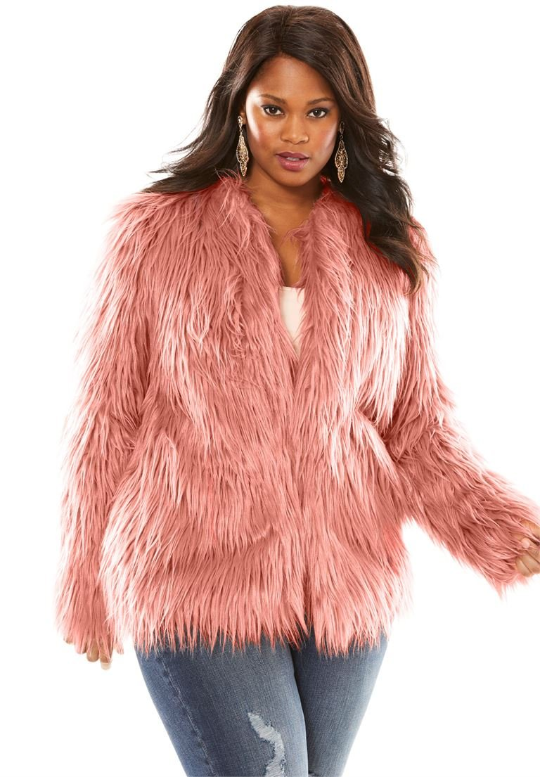 Roamans Women's Plus Size Faux Fur Jacket Vintage Pink,30/32 by Roamans