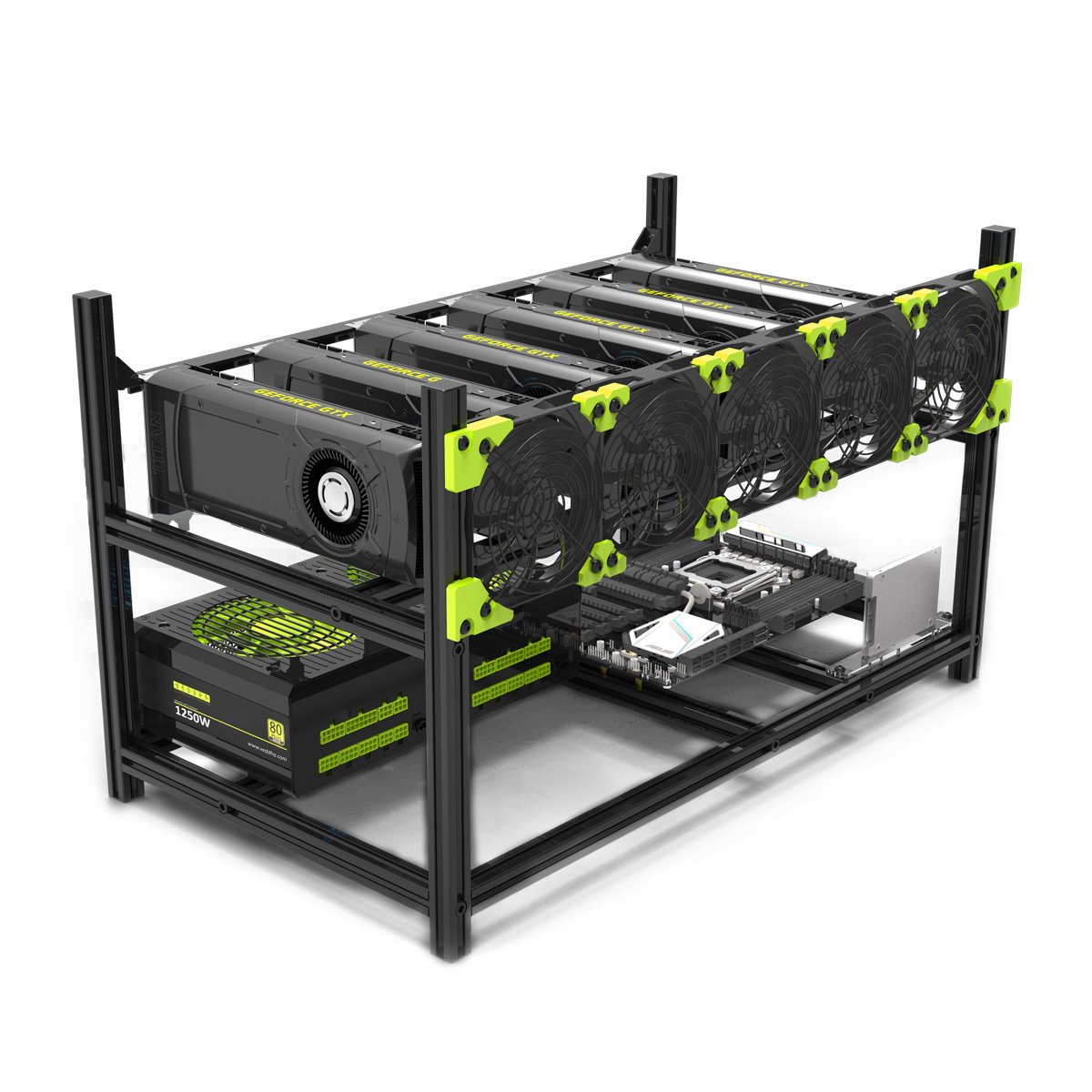 6 GPU Mining Case Rig Aluminum Stackable Preassembled Open Air Frame For Ethereum(ETH)/ETC/ZCash/Monero/BTC Easy Mounting Edition(Just 10 minutes) by Astarin