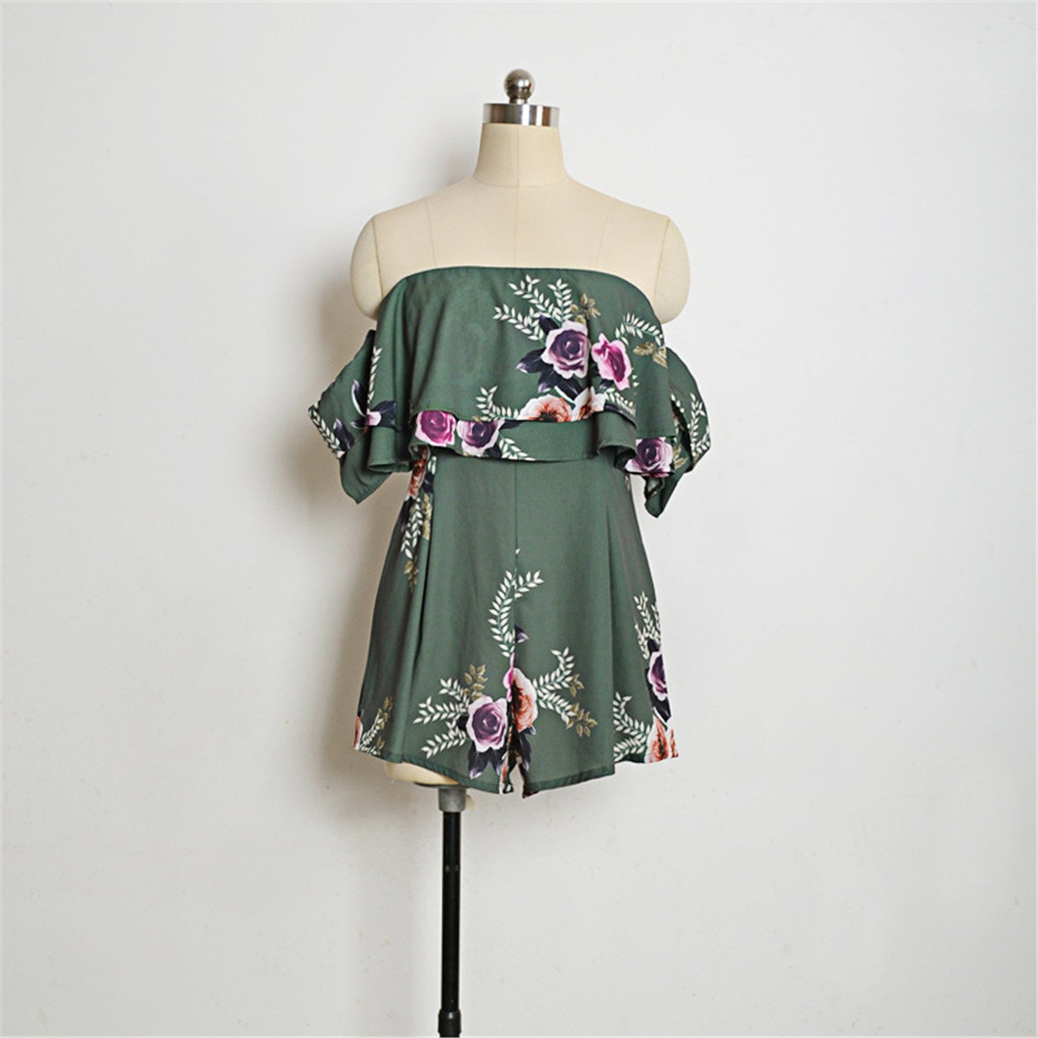 Arctic Cubic Short Sleeve Off The Shoulder Layered Ruffled Ruffle Hem Floral Playsuit Romper Jumpsuit Shorts