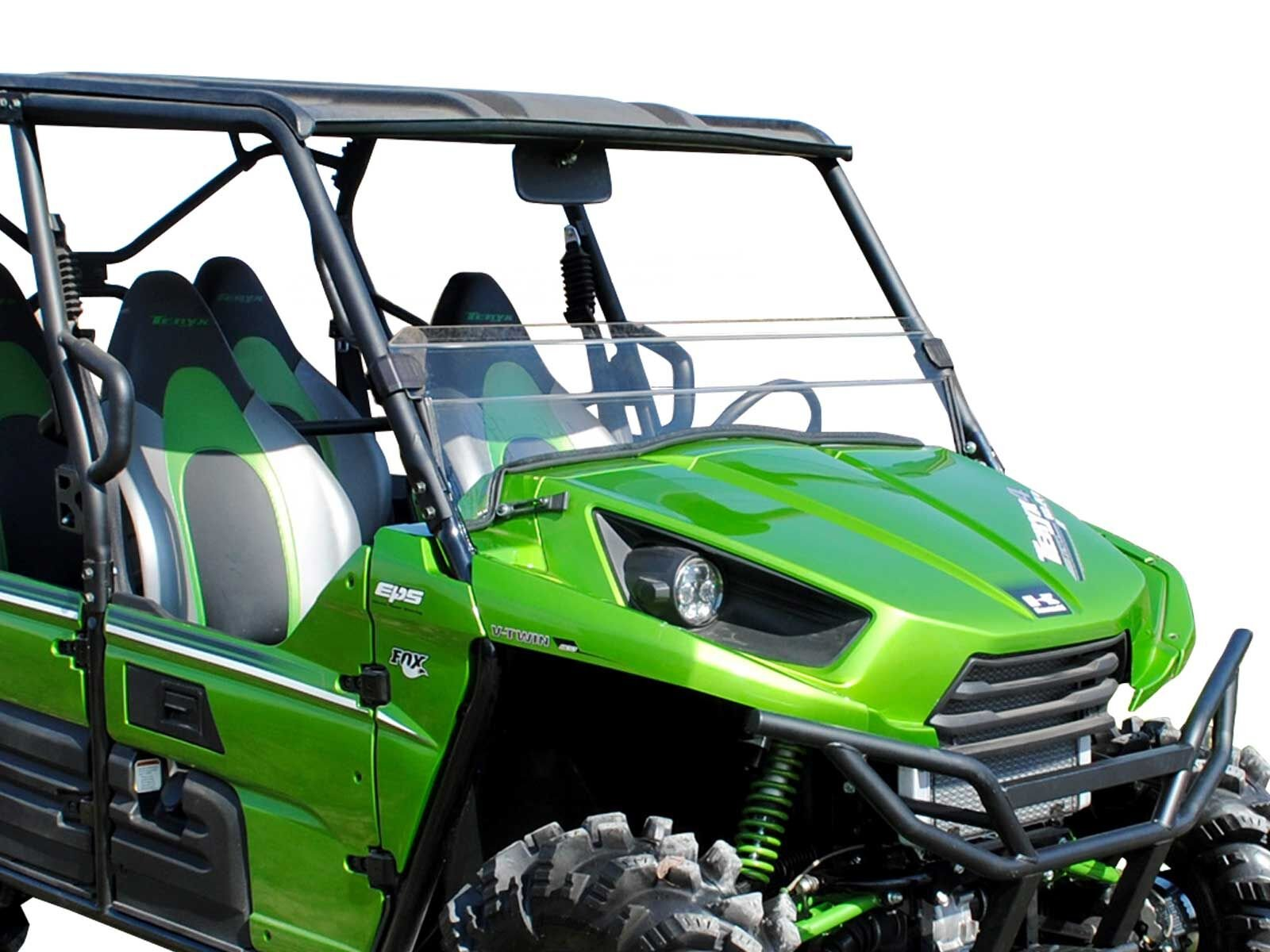 SuperATV Heavy Duty Clear Scratch Resistant Half Windshield for Kawasaki Teryx 800/800 4 (2016+) - Installs in 5 Minutes!