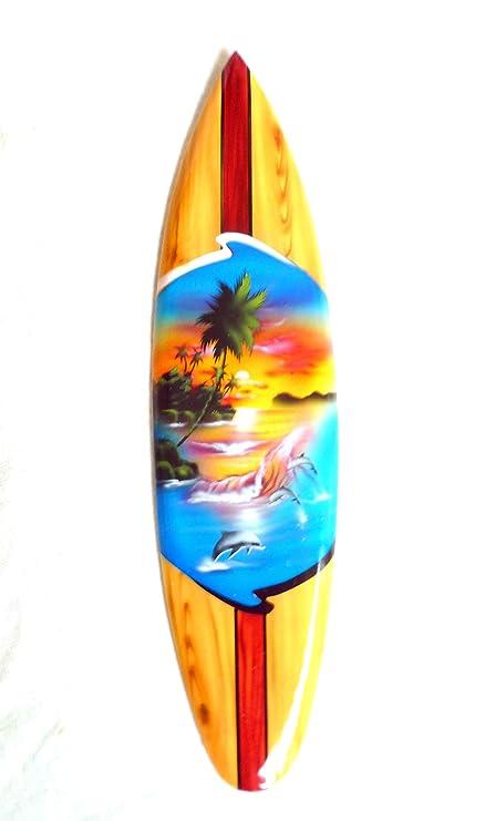mniatur dekosurfb oard Surf madera onda Jinete Altura 20 cm, incluye soporte de madera decoración