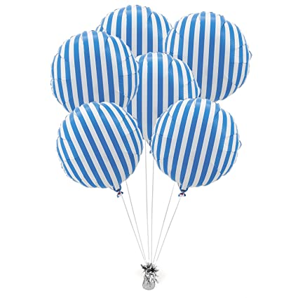 blue striped mylar balloons 6 pc