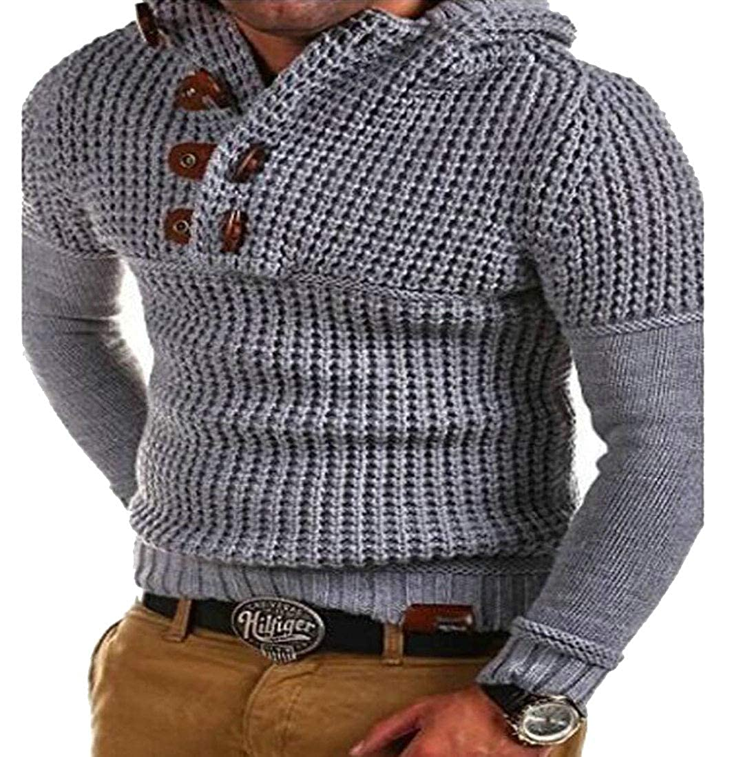 XTX Men Winter Slim Fit Knitted Button Down V Neck Pullover Sweaters