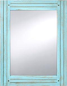Prinz Water's Edge Homestead Mirror Blue Distressed Wood 18.5x23.5