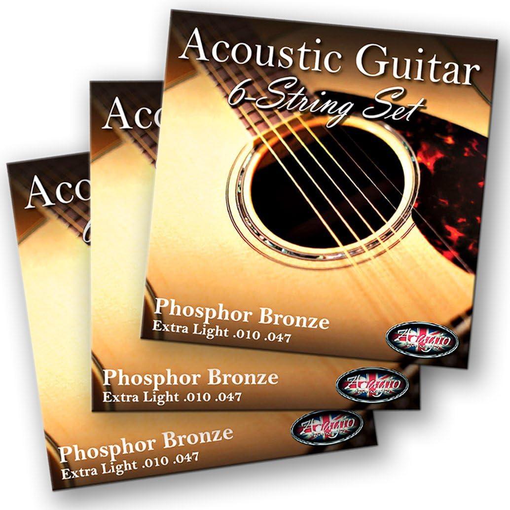 3 unidades Adagio profesional cuerdas de guitarra acústica 10–47bronce fósforo