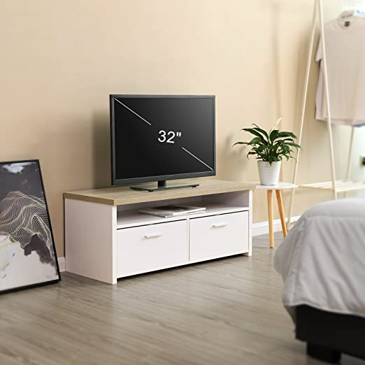 VASAGLE Mueble para TV con Compartimentos y Puertas, Mesa Baja para Televisor, Receptor, Reproductor DVD, para Comedor, Blanco y Color Natural LTC01WN: Amazon.es: Juguetes y juegos