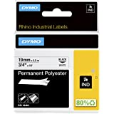 DYMO RhinoPRO Industrial-Strength Permanent Adhesive Fabric Label Tape, 3/4-inch, 18-foot Cassette, White (18484)