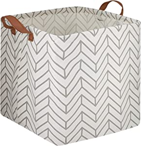 CLOCOR Square Storage Baskets,Storage Bins,Canvas Nursery Boxes,Collapsible Playroom Decor for Laundry,Shelves,Gift Basket,Home Organization (Grey Geometry)