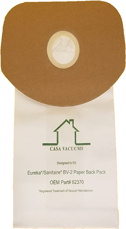 Piranha Compatible With OEM Part # 62370 Backpack Eureka BV-2 Bags Fit Sanitaire /& Tornado Carpet Pro 20