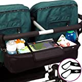 BEST DOUBLE STROLLER ORGANIZER Storage Bag for Double / Twin / Tandem Strollers, Exclusive Phone-Pocket Cell Holder & Waterproof Rain Cover. PLUS 2 FREE Stroller Hooks. Must Have Stroller Accessory