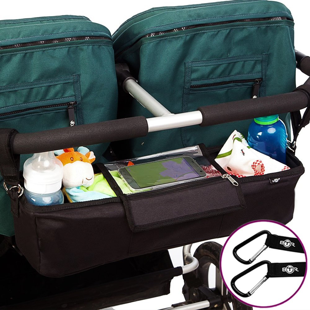 BTR Black Pram Twin Tandem Buggy Organiser Storage Bag for Double Prams BTR192