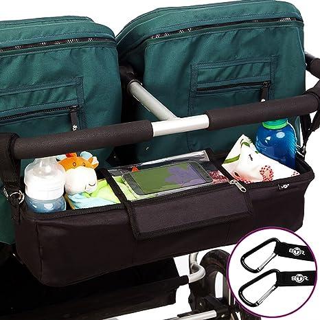 Bolsa organizadora BTR para cochecitos de bebé o sillas de paseo dobles o gemelar. Negro