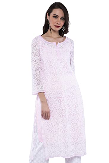8e2657c0f ADA Lucknow Chikan Hand Embroidery Faux Georgette Kurti Kurta Party Wear  A158881 (Pink) (