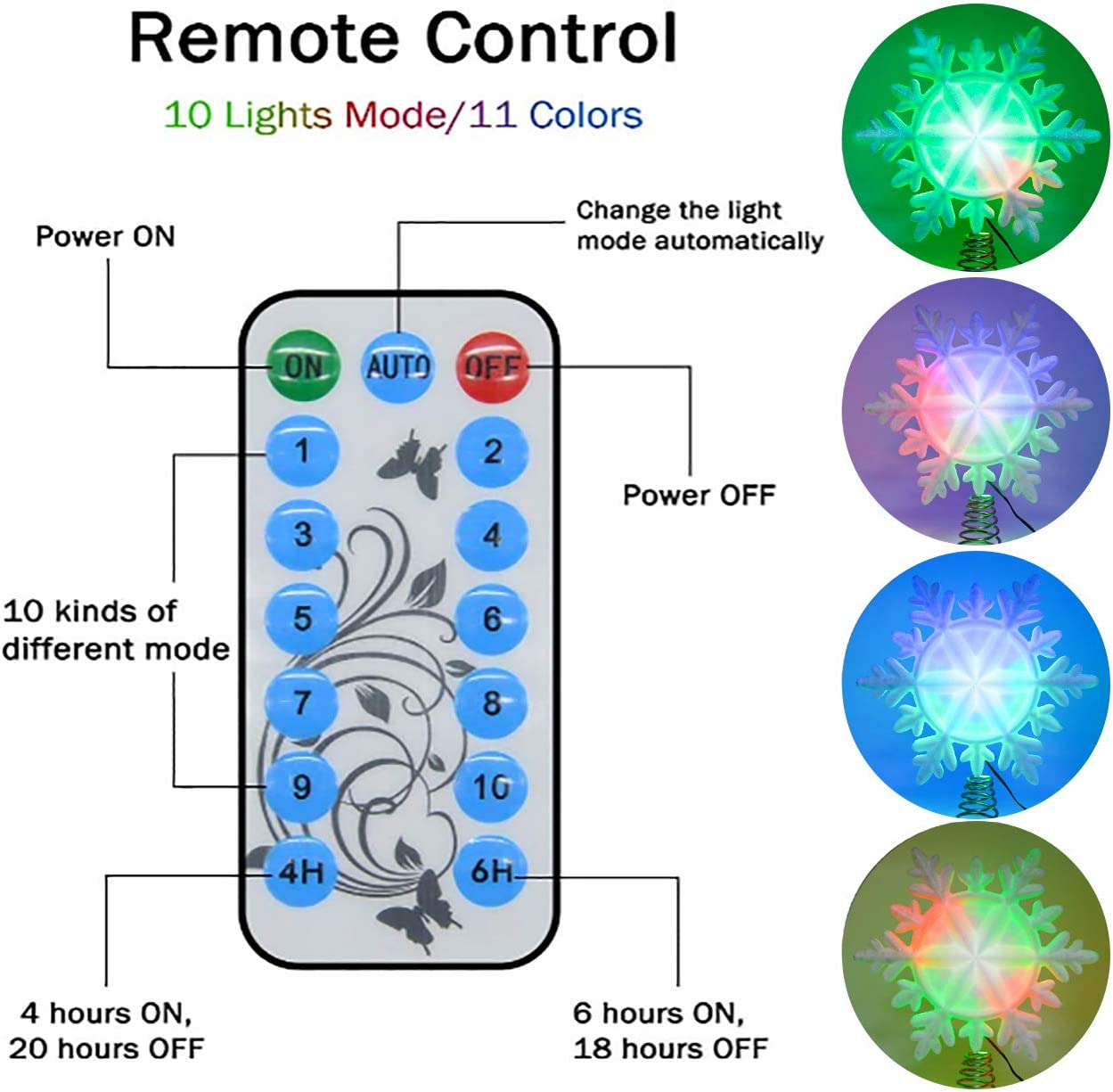 LED RGB Treetop with Timer IP44 Waterproof Xmas Home Decorations Yocuby Christmas Tree Topper Remote Control Wall Light for Indoor and Outdoor