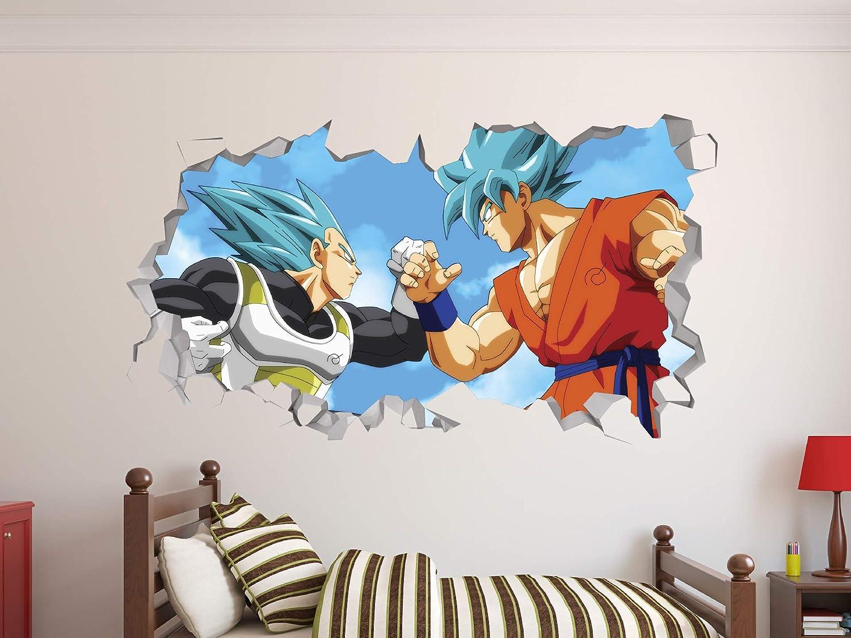 """Dragon Ball Super Goku Vegeta Wall Decal 3D Sticker Vinyl Decor Mural Kids (22""""W X 12""""H)"""