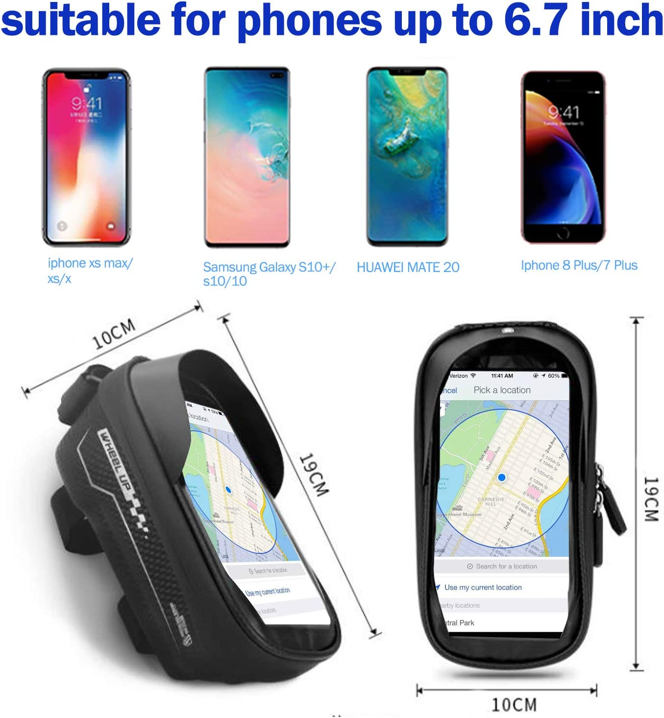 BOKIE Bike Bicycle Phone Mount Bag Cycling Waterproof Front Frame Top Tube Storage Bag with Touch Screen Phone Holder for iPhone 11//12 Pro//Pro Max Below 6.5 inches