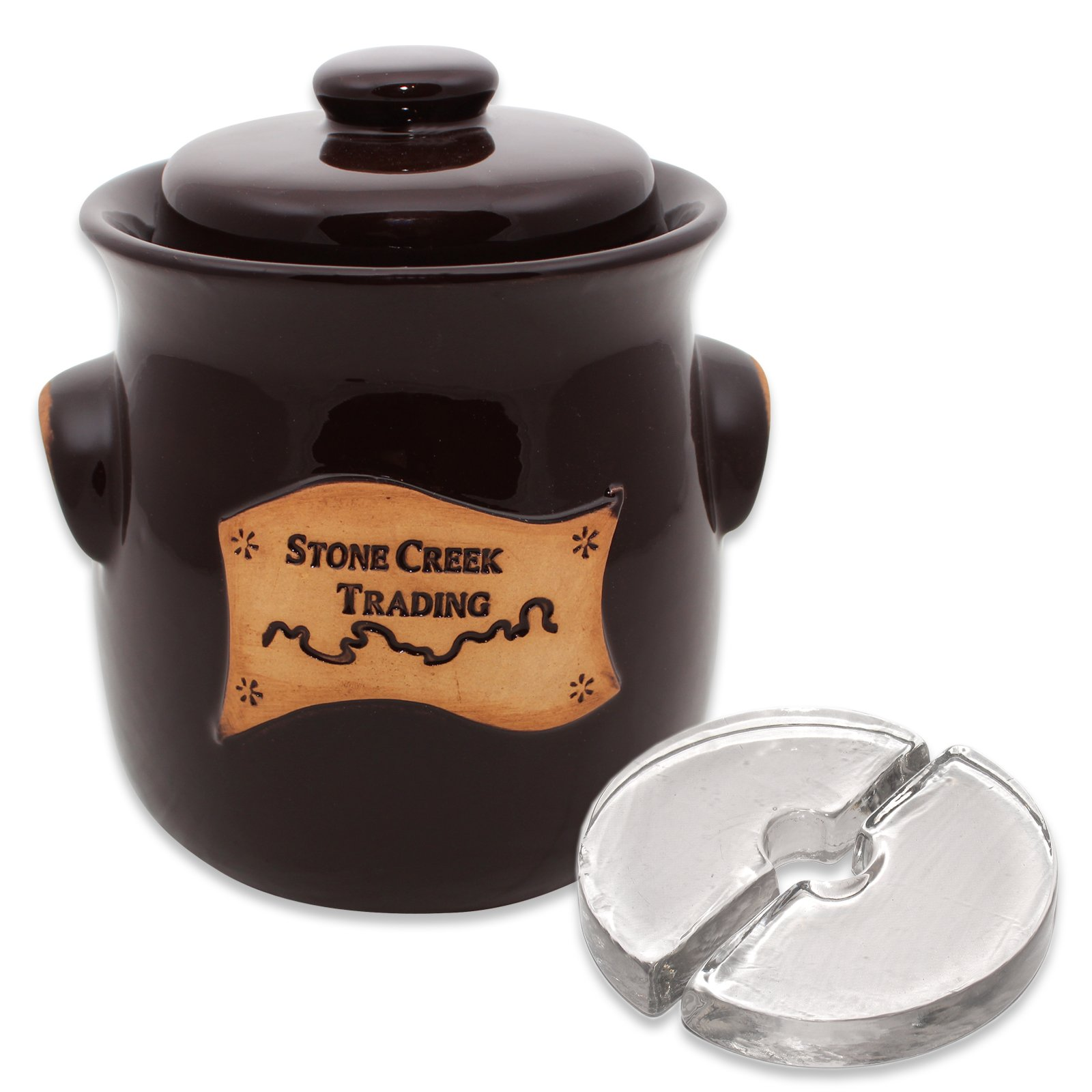 Stone Creek Trading 2.5L Fermenting Crock with Weights (Stone Creek Trading)