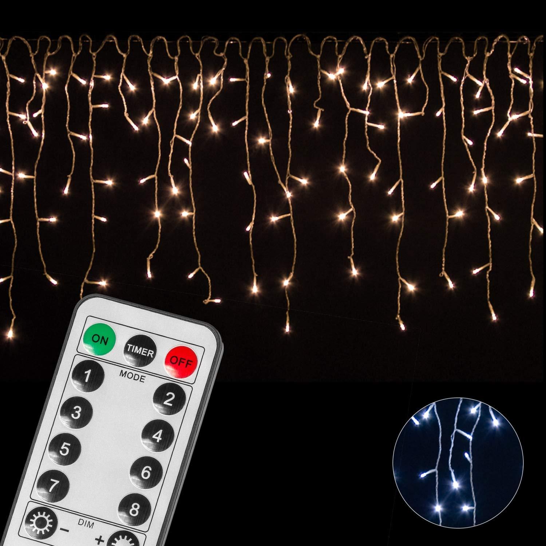 VOLTRONIC® 200 400 600 LED Eisregen für innen und außen, Farbwahl: warmweiß/kaltweiß, GS geprüft, IP44, optional mit 8 Leuchtmodi/Fernbedienung/Timer