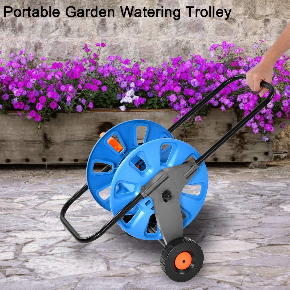 Yosoo Portable Garden Water Pipe Holder Garden Hose Reels Cart Hose Pipe Holder Trolley for Watering Garden Truck Tool