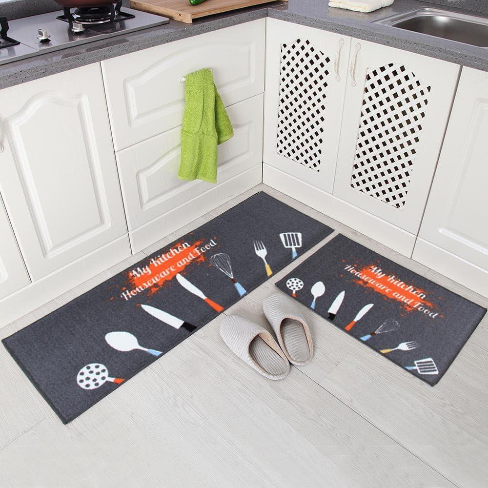 """Carvapet 2 Piece Non-Slip Kitchen Mat Rubber Backing Doormat Runner Rug Set, Kitchenware Design (Grey 15""""x47""""+15""""x23"""")"""