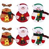 OULII 6 x Cocina Traje Cubiertos Portavasos Bolsillos Cuchillos Bolsas Bolso Muñeco de nieve Santa Claus