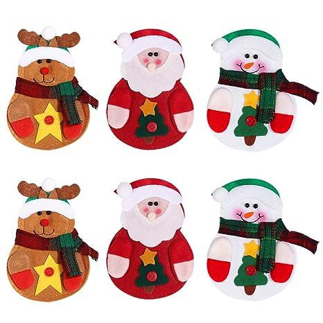 OULII 6 x Cocina Traje Cubiertos Portavasos Bolsillos Cuchillos Bolsas Bolso Muñeco de nieve Santa Claus Elk Decoración de fiesta de Navidad