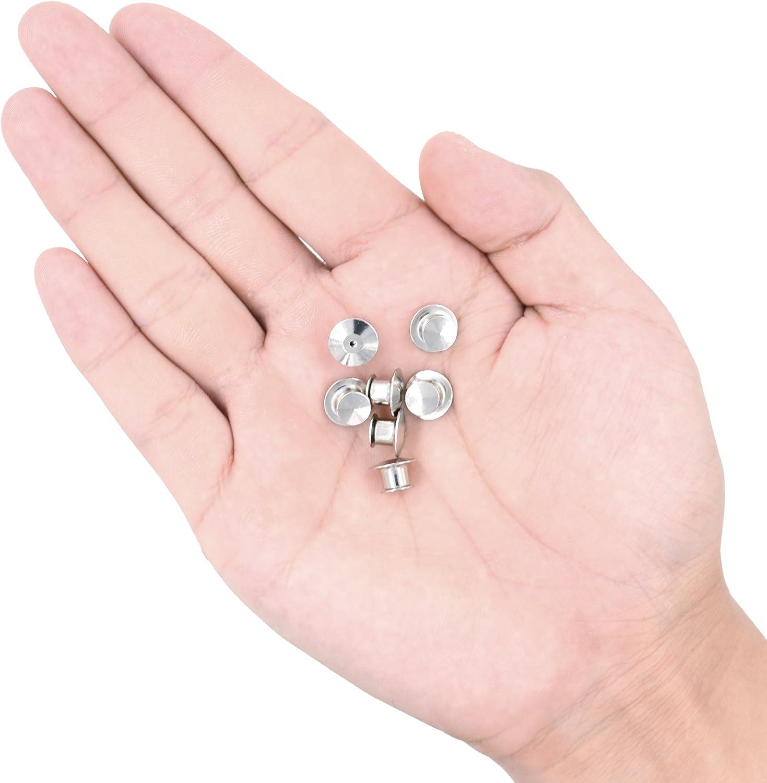 SUBANG 60 Pieces Metal Pin Backs Locking Pin Keepers Locking Clasp with Storage Case