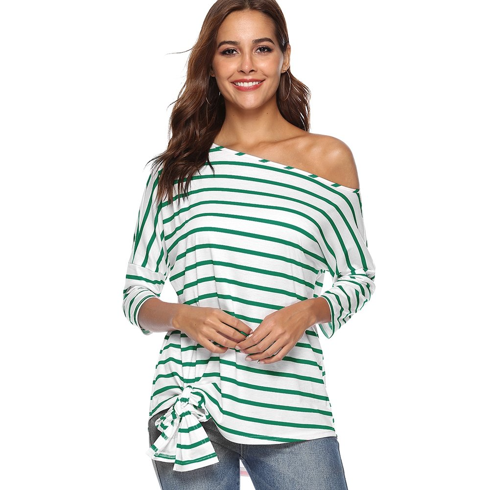Green Hotiary Women's Striped Shirt Tie Front 3 4 Sleeve Tunic Blouse Off Shoulder Tops for Women