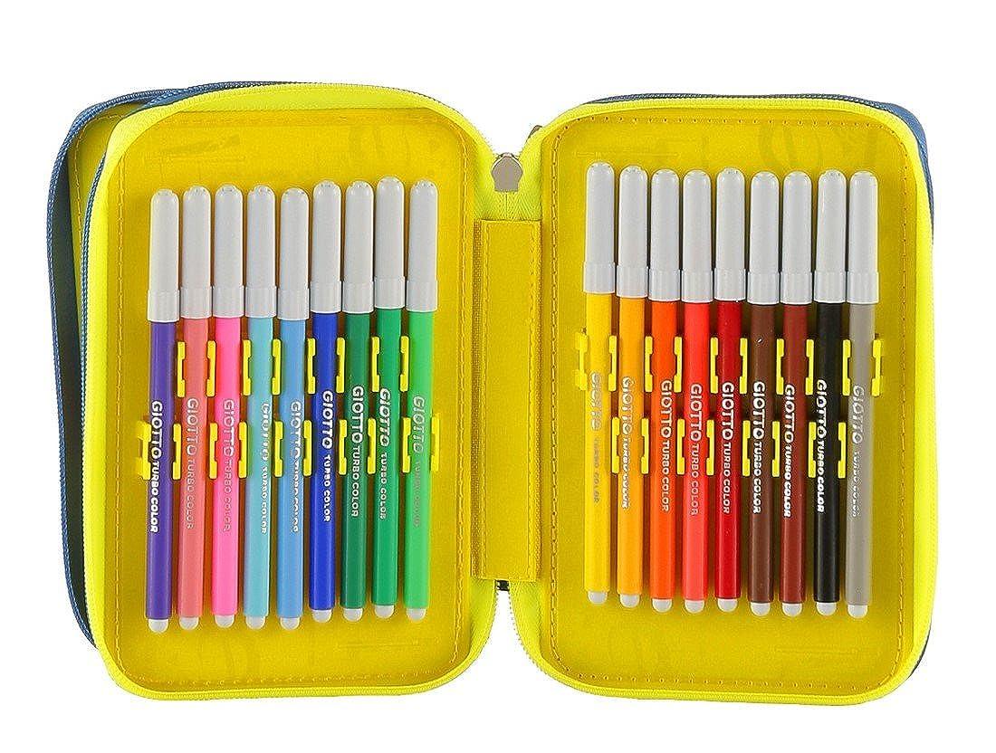 School Pencil Case SEVEN 3 Zip Blue erasable pen felt tips eraser ecc SHIFTY BOY