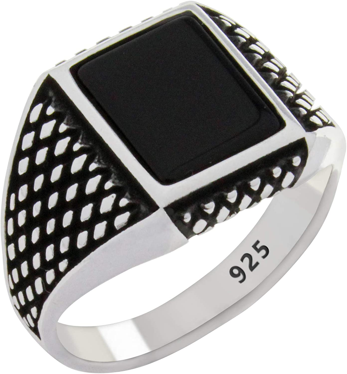 Exclusive  Design No Stone Turkish Handmade 925 Sterling Silver Mens Ring
