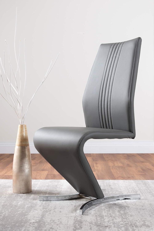 Möbellåda UK 2 x pil modern premium krom metall Z konstläder snygga matstolar set (vita stolar) Elefantgrått