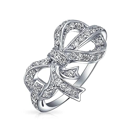 Vintage Style Cubic Zirconia Pave CZ Ribbon Bow Statement Ring For Women For Teen 925 Sterling Silver