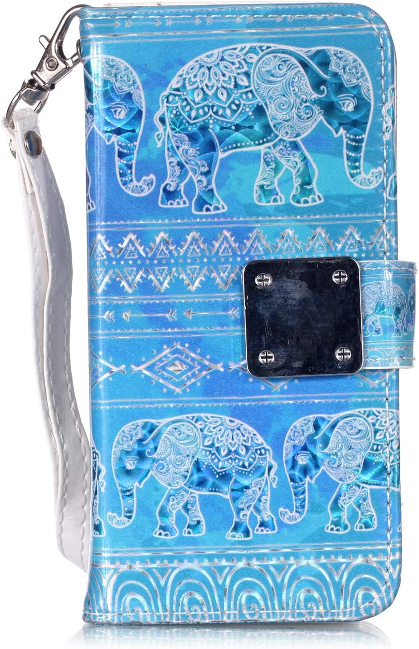 Flip Phone Case for iPod Touch 5 / 6th / 7th Generation, Candy House 3D Glitter Series Wallet PU Leather with [5 Card Holders] [Hand Strap] Stand Magnetic Cover (Tribal Elephant)