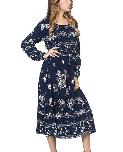 de1dac64c8608 DANALA Women's Bohemian Vintage Printed Ethnic Loose Casual Tunic Dress  Midi Dress with Pockets