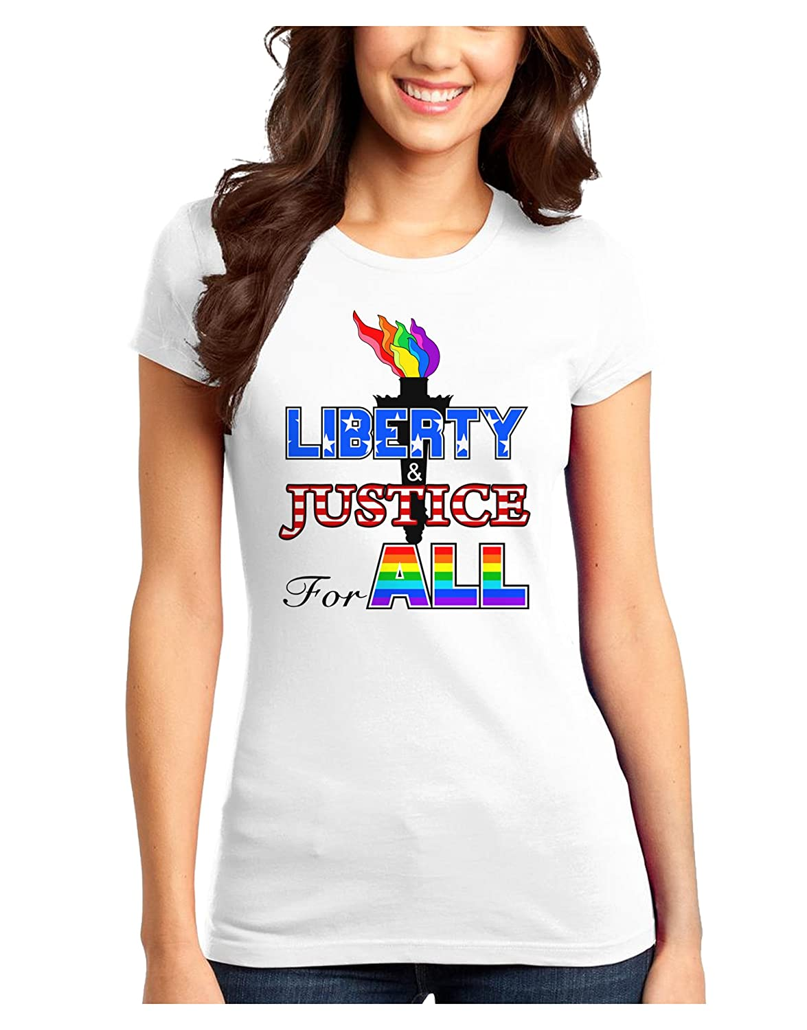 323ef66adce7c Amazon.com  Gay Equality Liberty Justice for All Juniors T-Shirt  Clothing