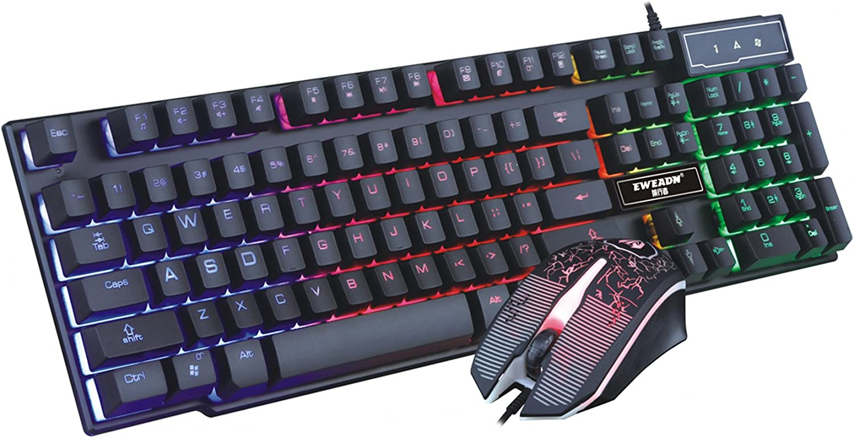 BYP Teclado mecánico para juegos y mouse Combo USB LED retroiluminado suspendido Keypress negro negro
