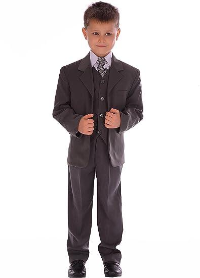 Traje Para Niño Gris Formal Paje De Boda 5 piezas gris traje ...